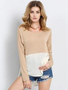 Khaki Apricot Long Sleeve High Low T-Shirt
