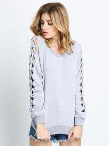 Grey Long Sleeve Hollow Sweatshirt