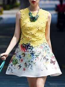 Yellow Round Neck Sleeveless Crochet Print Flare Dress