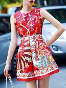 Red Round Neck Sleeveless Floral Print Pockets Dress