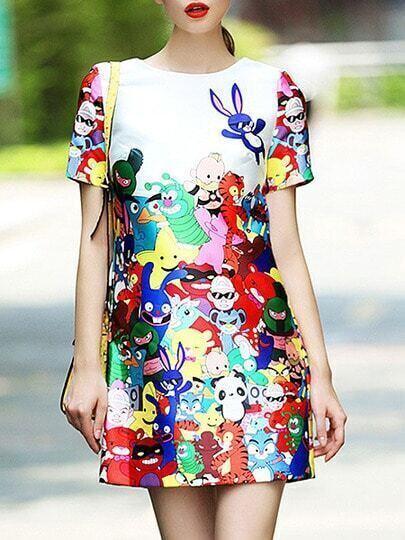 Multicolor Round Neck Short Sleeve Cartoon Print Dress