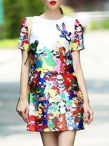 Multicolor Round Neck Short Sleeve Cartoon Print Dress