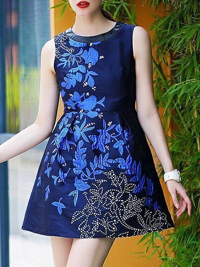Blue Round Neck Sleeveless Contrast PU Leather Jacquard Dress