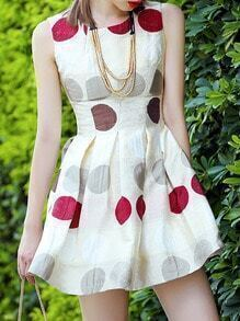 Beige Round Neck Sleeveless Polka Dot Print Dress
