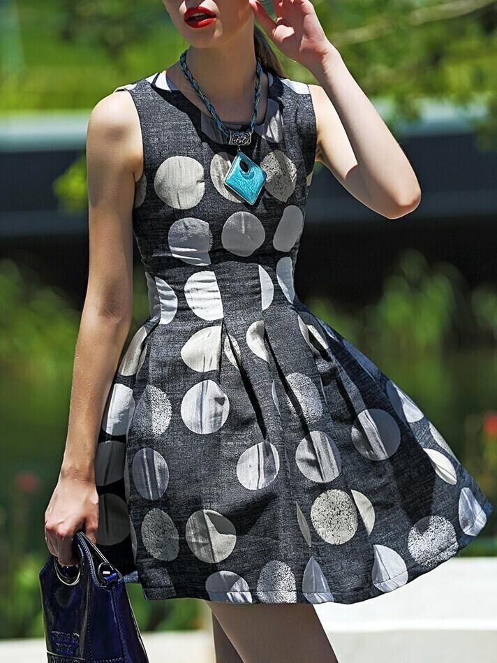 Grey Round Neck Sleeveless Polka Dot Print Dress