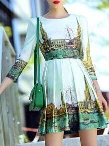 White Round Neck Length Sleeve Building Print Dress