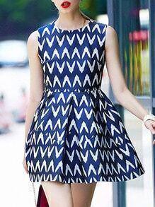 Blue Round Neck Sleeveless Print Flare Dress