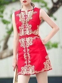 Red Round Neck Sleeveless Embroidered Dress