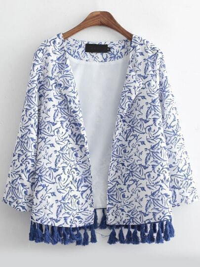 Blue White Casual Floral Tassel Coat