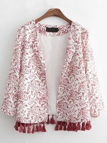 Red White Casual Floral Tassel Coat