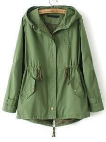 Green Hooded Drawstring Pockets Trench Coat