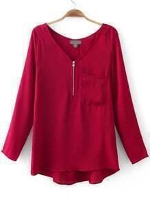 Red V Neck Zipper Pocket Loose Blouse