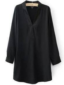 Black V Neck Long Sleeve Loose Dress