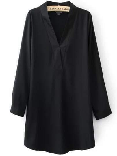Black V Neck Long Sleeve Loose Dress