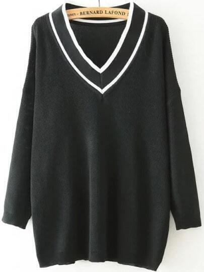 Black V Neck Striped Loose Knit Sweater