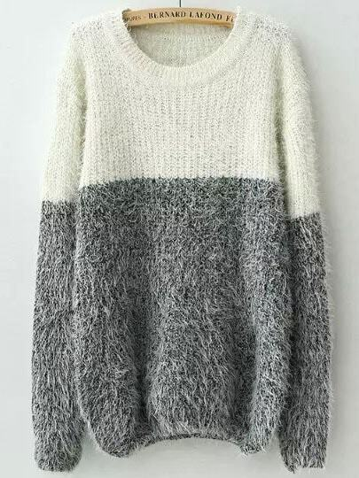 Contrast Shaggy Knit Sweater