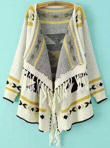 White Long Sleeve Geometric Print Tassel Cardigan