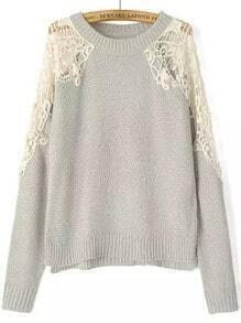 Grey Round Neck Lace Crop Knit Sweater