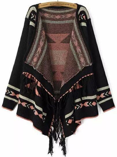 Black Long Sleeve Geometric Print Tassel Cardigan