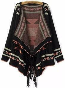 Black Long Sleeve Geometric Print Tassel Cardigan