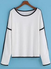 White Round Neck Contrast Trims Crop Sweatshirt
