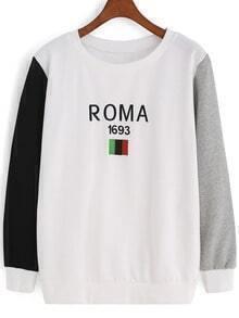 Colour-block Round Neck ROMA Print Sweatshirt