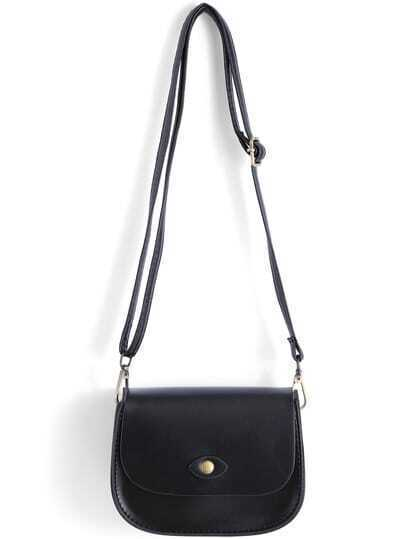 Black Magnetic Buckle PU Shoulder Bag