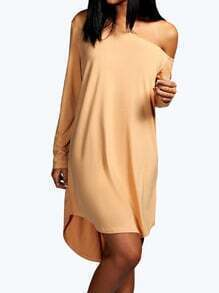 Khaki One-shoulder Long Sleeve Slim Dress