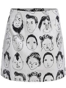 Black White Portrait Print Bodycon Skirt