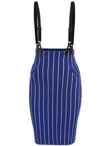 Royal Blue Vertical Stripe Strap Skirt