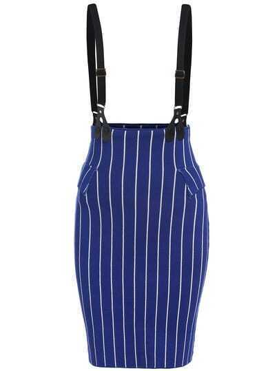 Royal Blue Vertical Stripe Strap Skirt