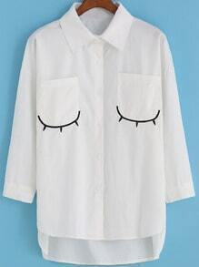 White Eyelash Embroidered Pockets Dip Hem Blouse