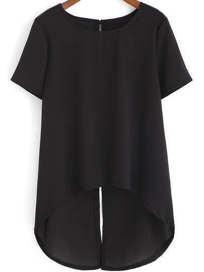 Black Round Neck Split Back Chiffon Blouse