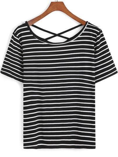 Black White Cross Back Striped T-Shirt