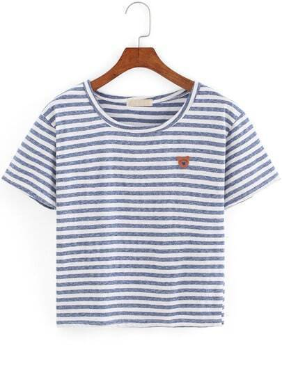 Blue White Round Neck Striped Bear T-Shirt