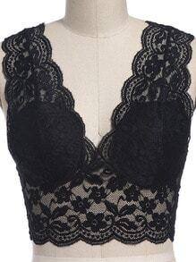 Black V Neck Lace Crop Lingerie