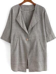 Grey Lapel Striped Pockets Loose Blazer