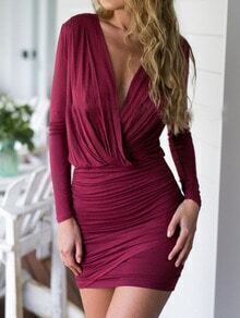 Red Burgundy V Neck Slim Pleated Rouched Bodycon Dress