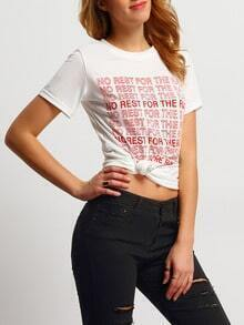 White Round Neck Letters Print Loose T-Shirt
