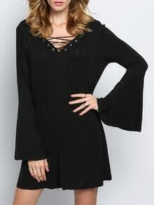 Black Long Sleeve V Back Jumpsuit