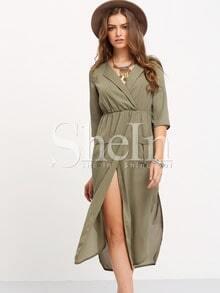 Army Green Chemise Surplice Pockets Split Petites Dress