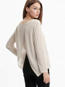 Apricot Long Sleeve Split Back T-Shirt