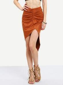 Brown Ruched Asymmetric Skirt