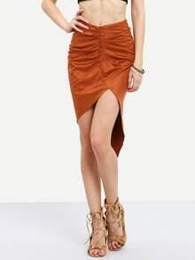 Falda ruched asimétrica -marrón