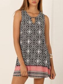 Multicolor Sleeveless Inch Vintage Print Dress