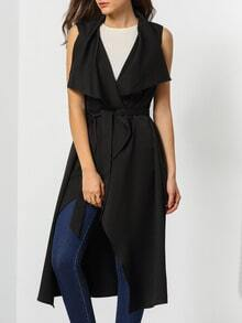 Black Sleeveless Asymmetric Trench Coat