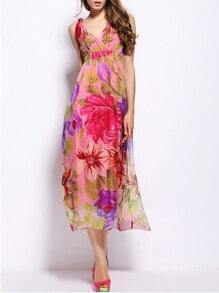 Multicolor V Neck Spaghetti Strap Backless Floral Print Maxi Dress