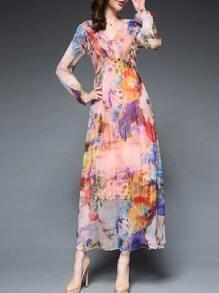 Multicolor V Neck Long Sleeve Print Dress