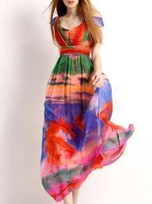 Multicolor Off The Shoulder Print Maxi Dress
