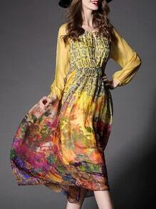 Yellow Round Neck Tie Long Sleeve Floral Print Dress